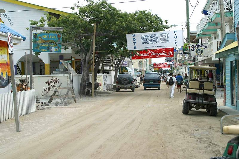 TYPICAL DOWNTOWN STREET IN SAN PEDRO, BELIZE