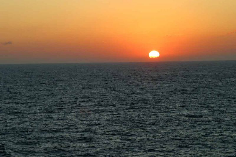 FIRST SUNRISE AT SEA-BETWEEN GALVESTON AND KEY WEST