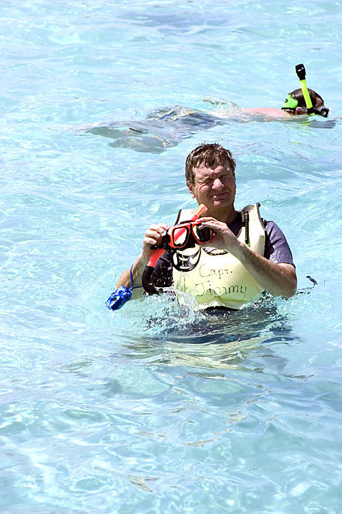 """SALTY"" CARL AT STINGRAY CITY, GRAND CAYMAN"
