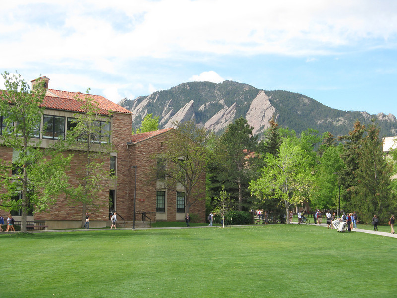 View of the Flatiron's on the edge of the campus.
