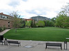 Looking across the main quad to the mountains.