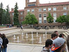 Fountains in the plaza behind the book store. We got a nice tour of the main campus buildings.