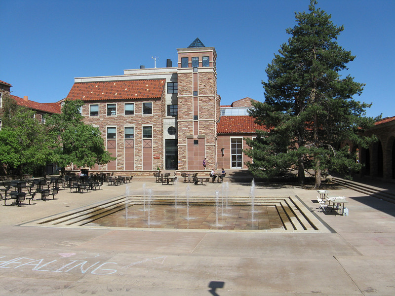 Another trek across the campus. Back to the fountain plaza by the bookstore.