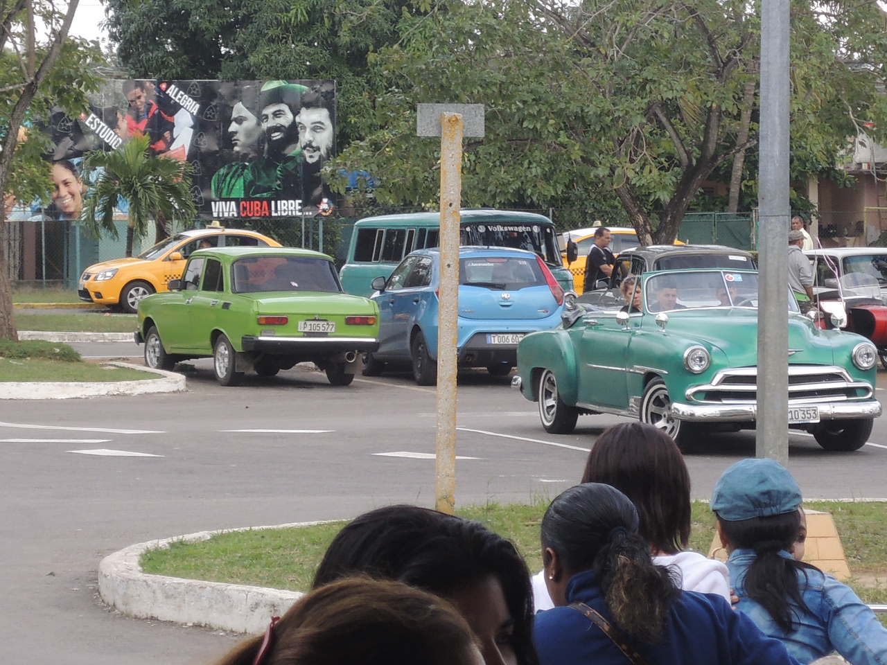 Another look at that 50 or 51 Chevy convertible.  The little green car is a Lada, a communist built verison of an early 1970's Fiat 124 sedan.
