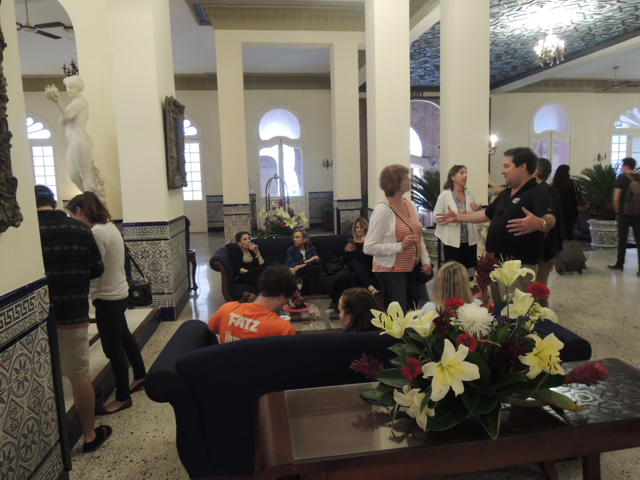 Another view of the hotel Sevilla lobby while check-in was proceeding.