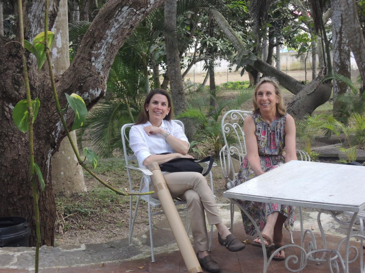 Elaine and Patty enjoying the poolside.