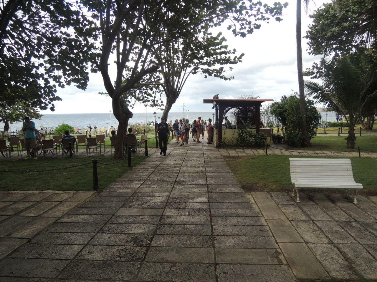 Walking out to the water at the Hotel Nacional