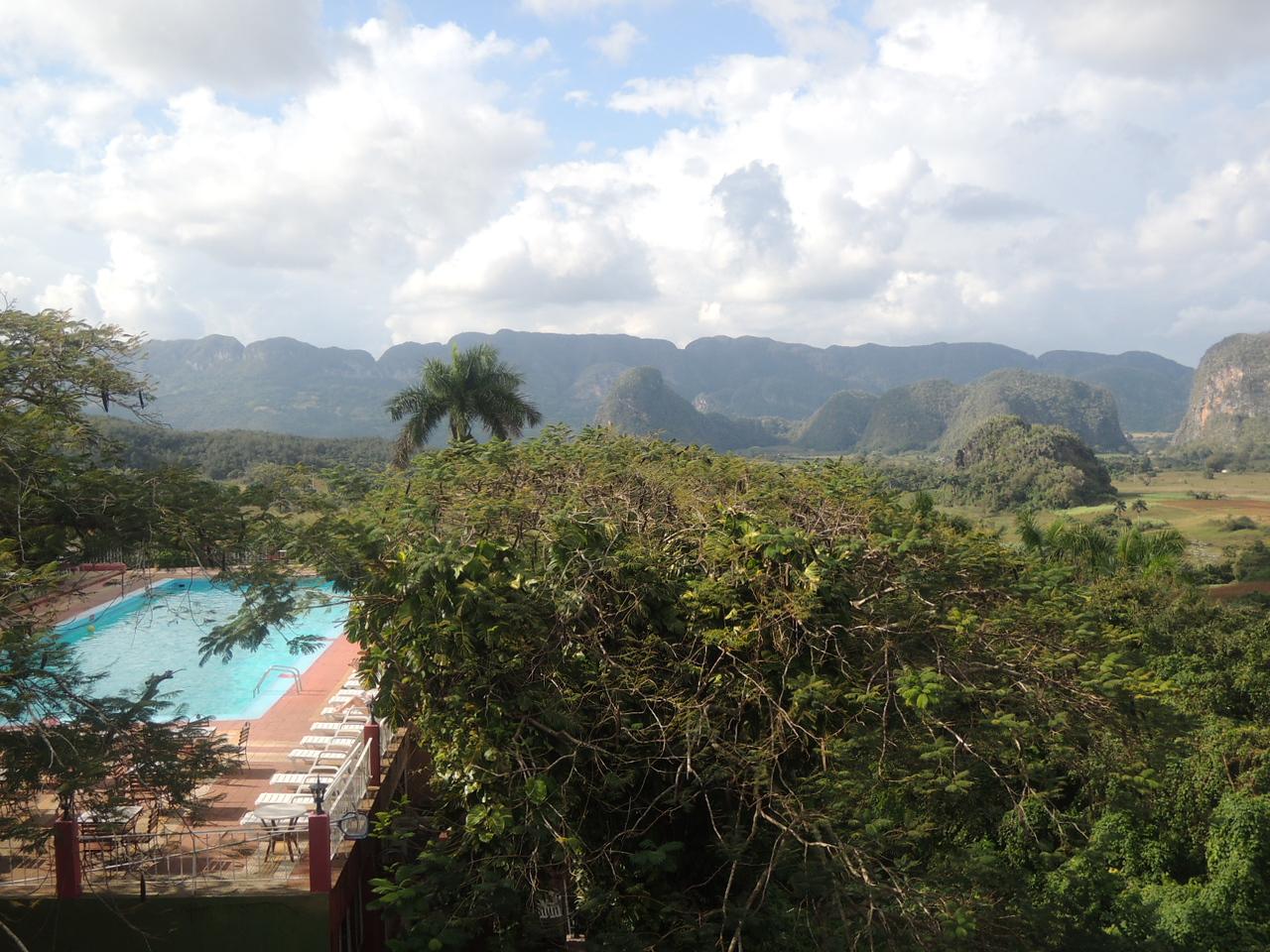 Looking across the hotel pool in Pinar del Rio.