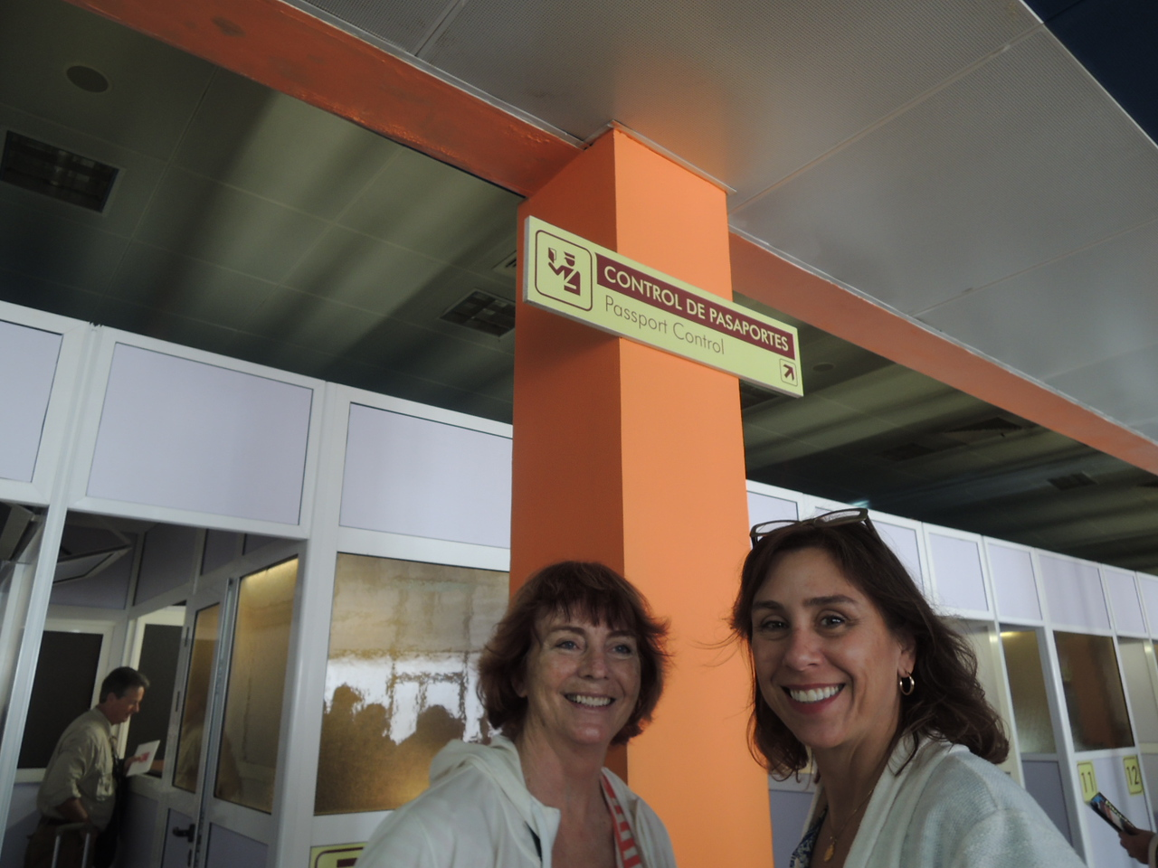 Kathleen and Cathy about to head into passport control in Havana after we arrived.
