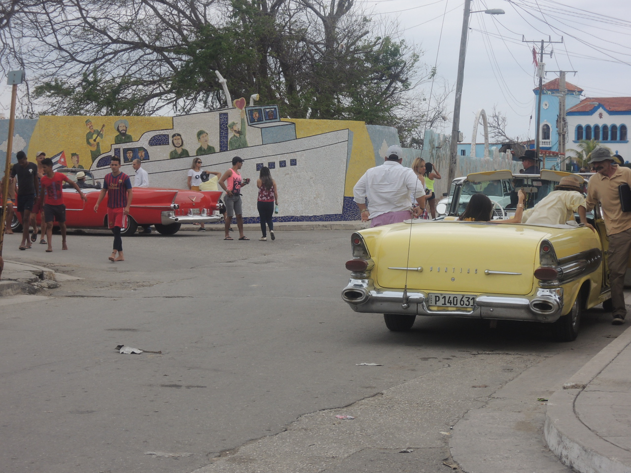 The 1956 Pontiac showed up at La Cuidad, and then came the 1957 Cadillac on the left.