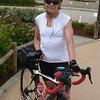 Linda at Lyon airport ready to ride.