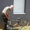 Tim assembling his bike at the hotel in Lyon.