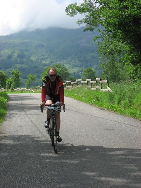 Dave climbing - perhaps Col de Soulor.