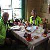 Wayne & Lori enjoying at snack at Col du Tourmalet restaurant-bar.