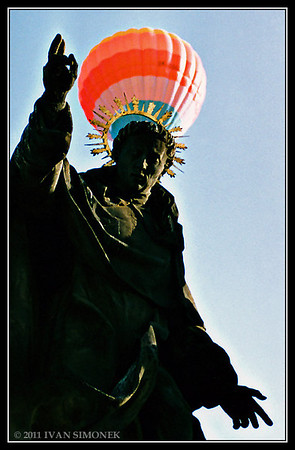 """HOT AIR BALOON 2"",a Charles bridge statue,Prague,Czech Republic."