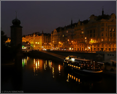 """NIGHT RIVER"",Vltava river,Manes tower,Prague,Czech Republic."
