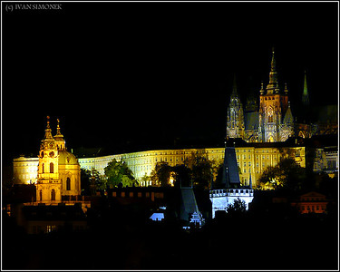 """""COLORS OF LIGHT"", St.Nicholas church (lower left), Bridge tower (lower right), St.Vitus cathedral (part of Prague castle, upper right), Prague, Czech Republic."