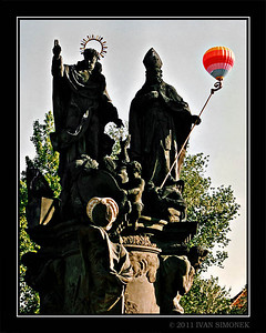 """HOT AIR BALOON 1"",Charles bridge statues,Prague,Czech Republic."