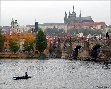 """VLTAVA RIVER"", Charles Bridge, St.Nicholas Church(left), Prague Castle, Prague, Czech Republic."