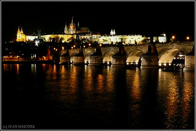 """FAMOUS"", Vltava/Moldau river, Charles bridge, Prague castle, Prague, Czech Republic."