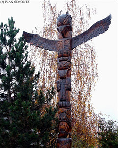 """UNEXPECTED"", a totem pole in Hradec Kralove, Czech Republic."
