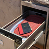 Rubbermaid container for Visitors Book and recent issues of Cabinet magazine in Library