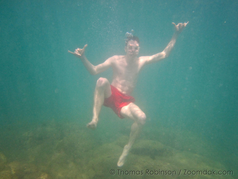 Thomas Robinson gives the shocka symbol while swimming in Gulf of California (Sea of Cortez) in Cabo, Mexico.