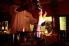 A waiter pours out Mexican coffee at El Chilar Restaurant in San José del Cabo, Mexico.