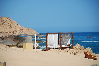 One of the newlywed cabanas on the beach at Fiesta Americana Hotel and Resort, Cabo San Lucas Mexico