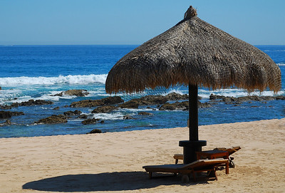 Shelter on the beach at Fiesta Americana Hotel and Resort, Cabo San Lucas Mexico