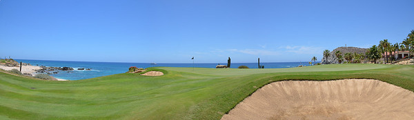 Panoramic view of the #16 green at Cabo del Sol Ocean course.