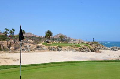 View of Cabo Del Sol Ocean Course's #17 Green as viewed from the 16th green.