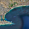 Hybrid satellite view of Cabo San Lucas, Baja, California. Our hotel is marked by the red pointer.