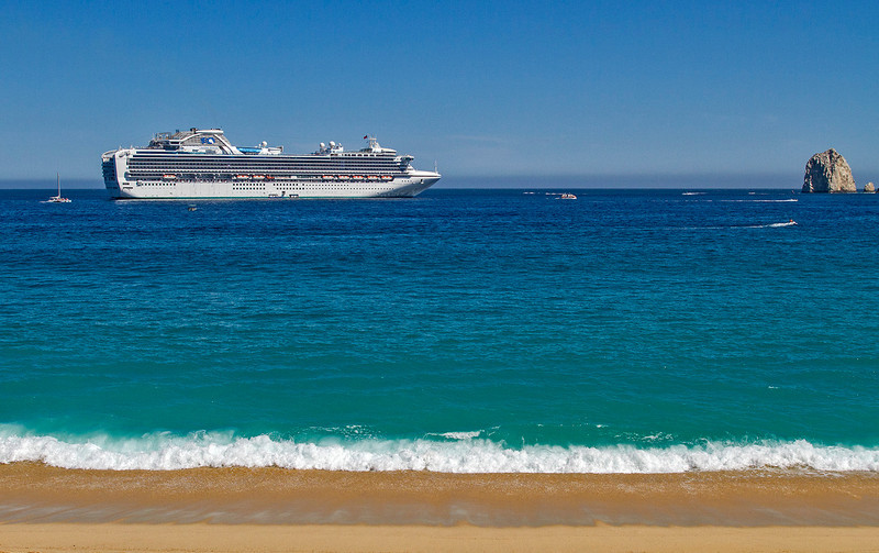 Huge cruise ship arrives to disgorge numerous passengers. A good time to avoid going downtown!