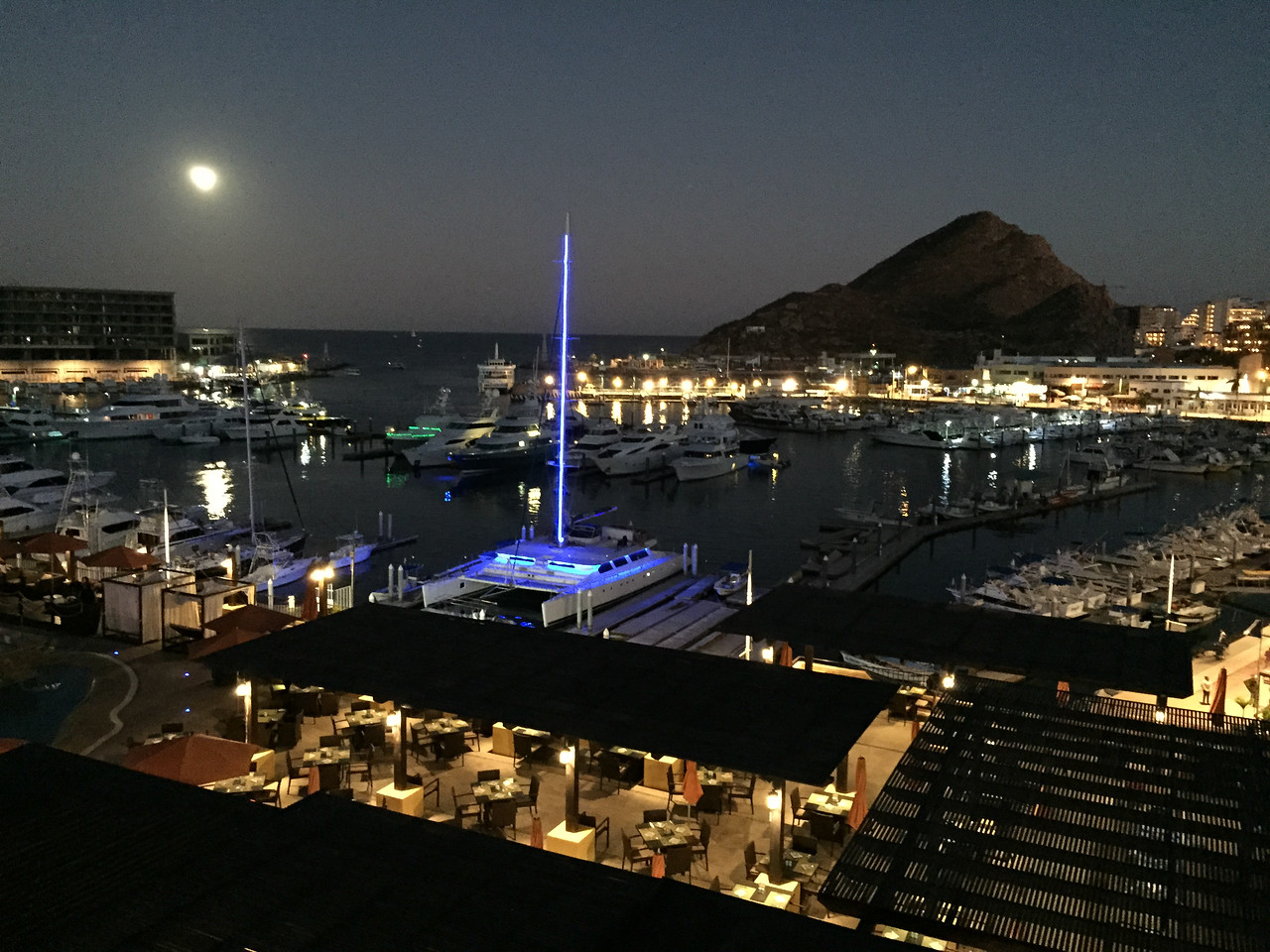 Late evening view from my balcony at Wyndham Cabo San Lucas Resort - January 2015