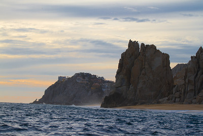 Looking out at dusk from the Sea of Cortez toward the Pacific Ocean