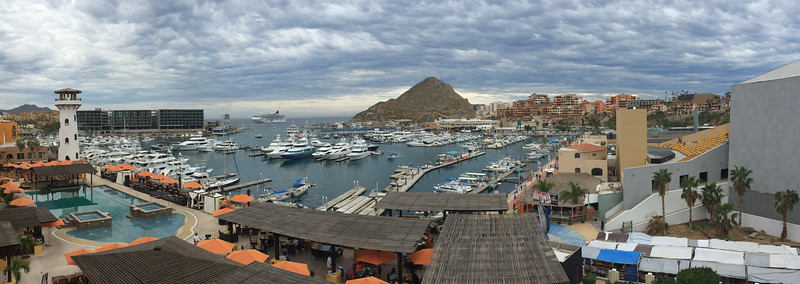 Panoramic view from my balcony at Wyndham Cabo San Lucas Resort - January 2015 (iPhone image)