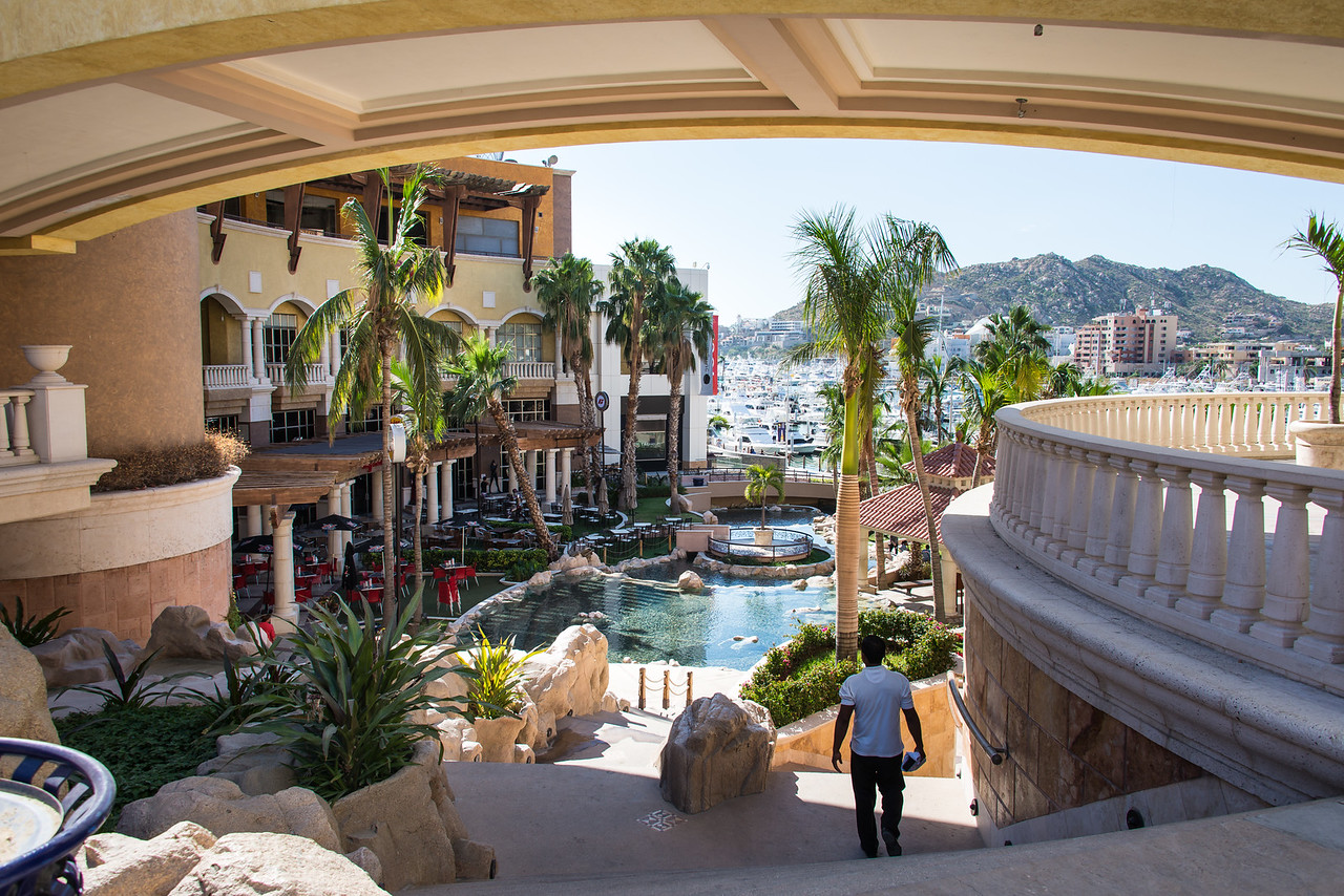 View from nearby shopping plaza at Cabo San Lucas - January 2015