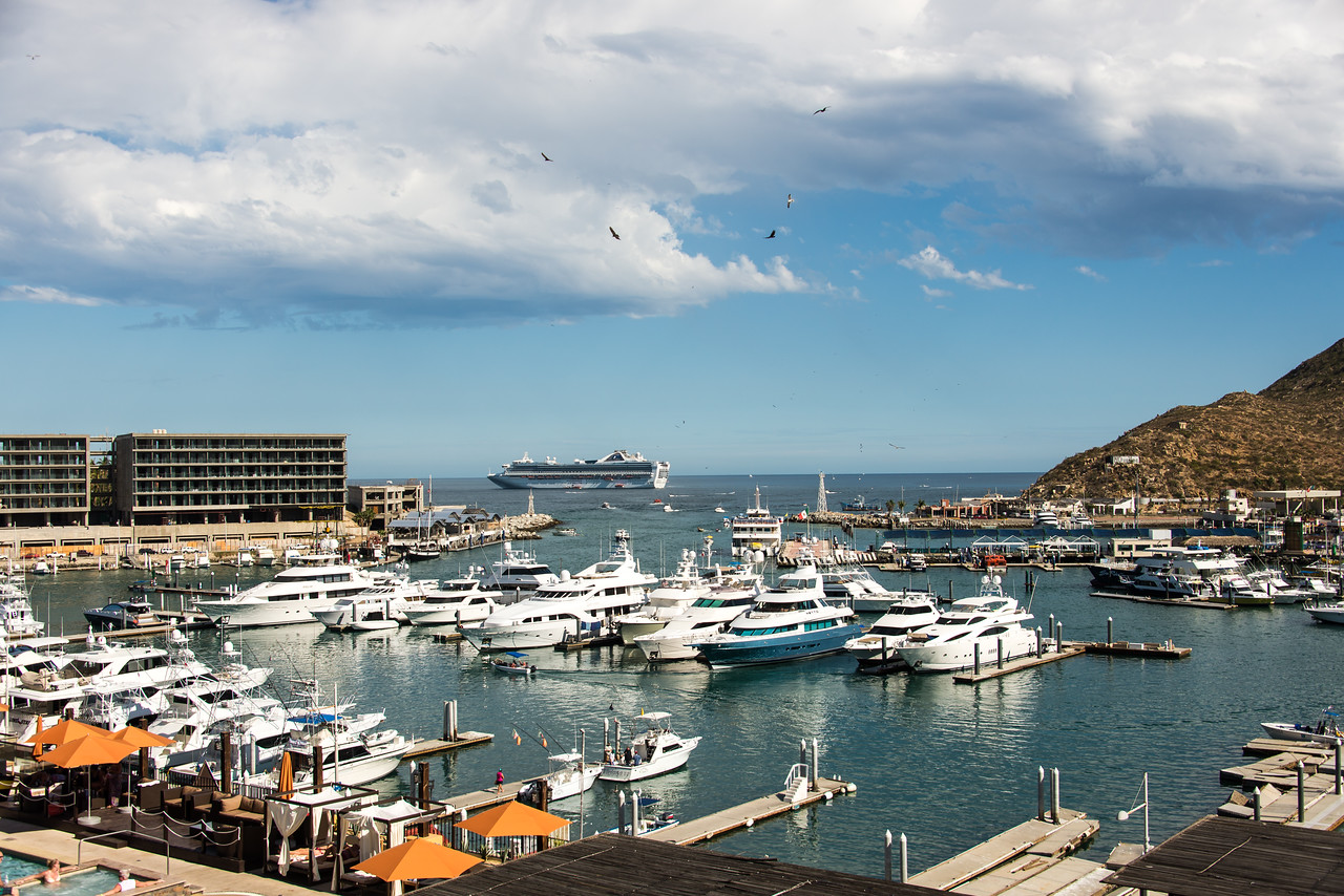 View of cruise ship from balcony at Wyndham Cabo San Lucas Resort - January 2015