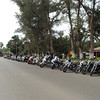 Biker gathering at a park in Todos Santos