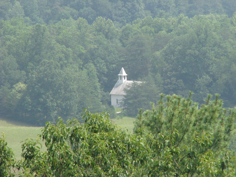 Church set up in the mountains of Cades Cove, Tenn.