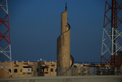 A spiral minaret on a mosque near El Alamein.