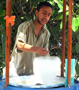 Candy floss seller at the Cairo zoo.