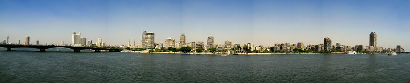 Panorama nile / city view shot showing the Cairo Tower (far left).