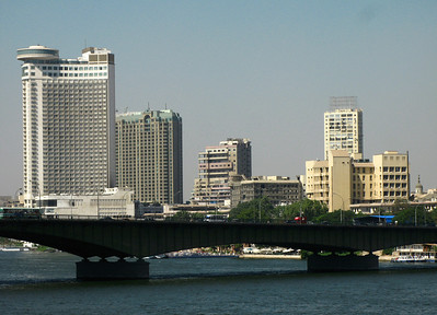 Nile / City view showing the Grand Hyatt hotel (left).