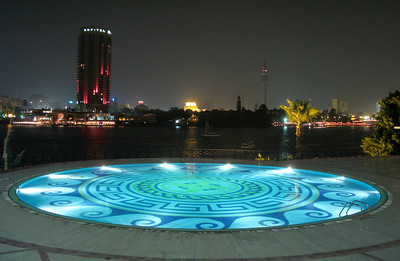 Water fountain feature at the Cairo Grand Hyatt hotel overlooking the Nile.