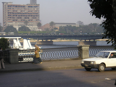 The Nile, taken from the dining room of Shepheards Hotel.