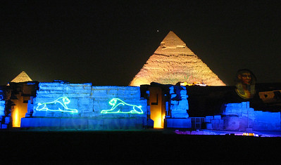 "The ""Sound & Light"" show at the pyramids in Giza, Cairo."