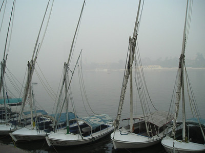 Boats on the Nile opposite the hotel.