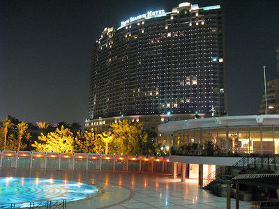 Nightshot of the Cairo Four Seasons hotel owned by Saudi business tycoon Prince Alwaleed bin Talal.